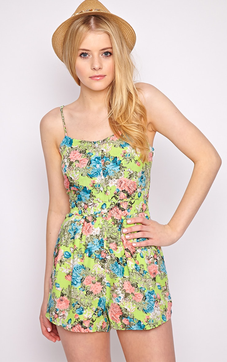 Carrie Green Floral Playsuit  4