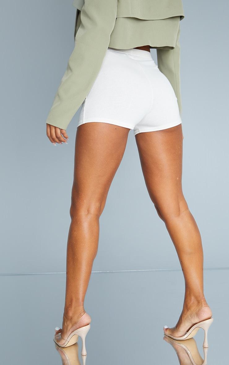 Cream Soft Rib Hot Pants 3