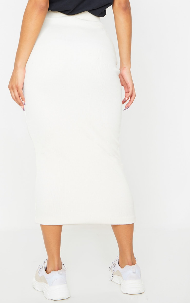 Cream Structured Rib Bodycon Midaxi Skirt 3