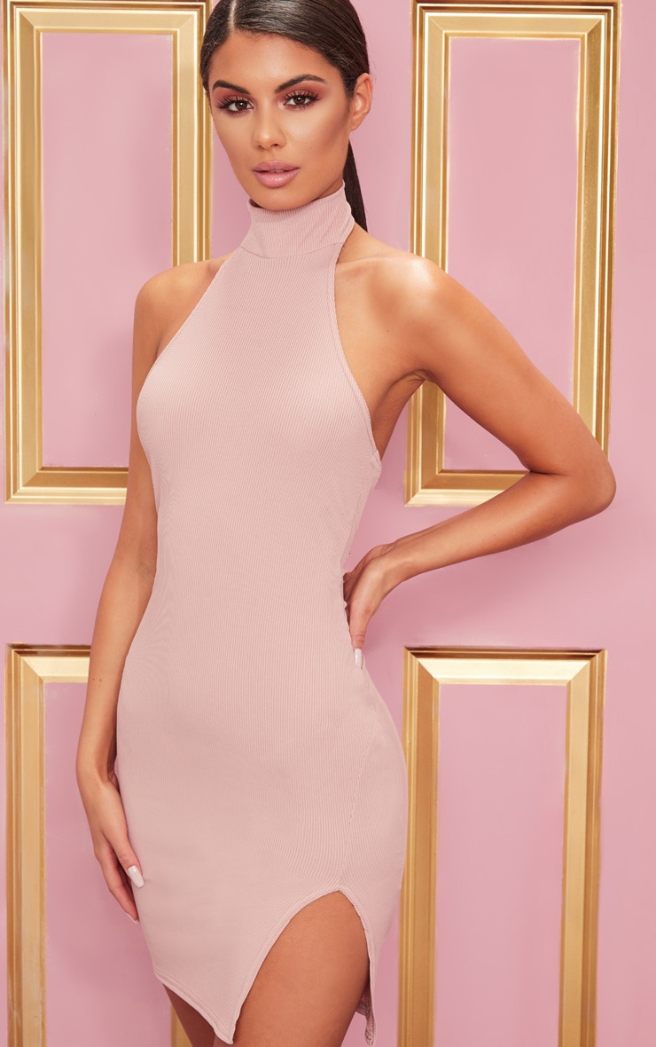 Rose Ribbed High Neck Split Detail Bodycon Dress 4