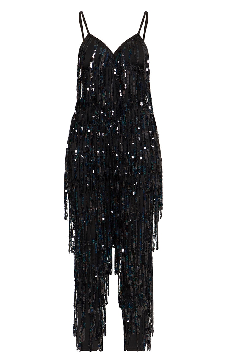 Black Tassel Sequin Jumpsuit 3
