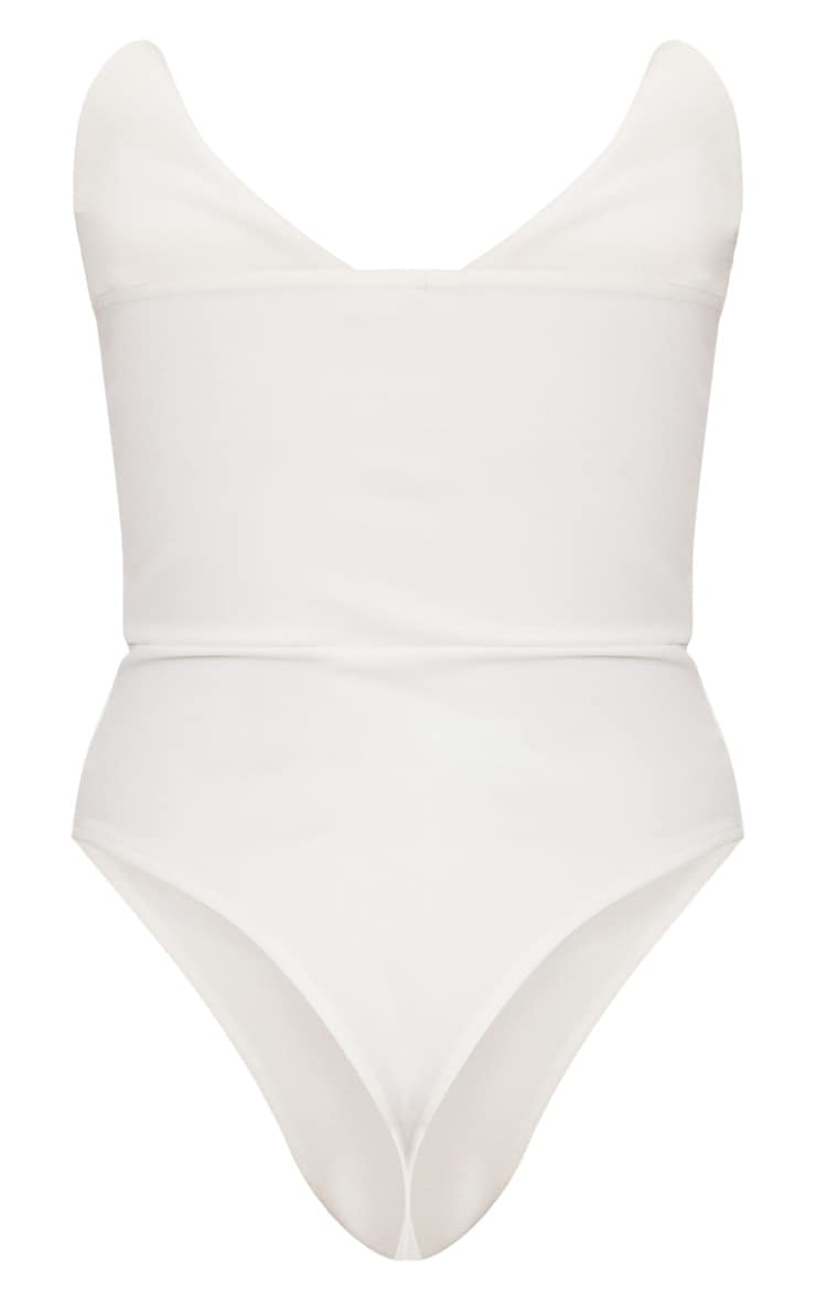 White Tux Detail Bandeau Thong Bodysuit 4