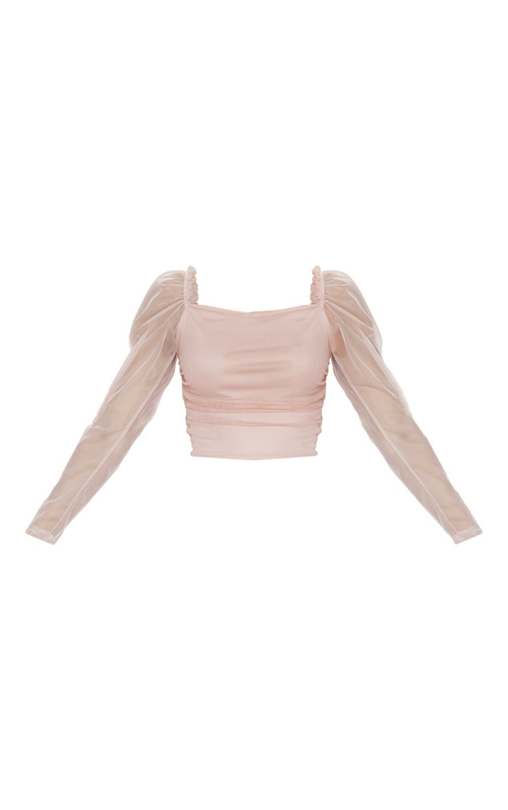 Blush Mesh Ruched Side Seam Long Sleeve Crop Top 1