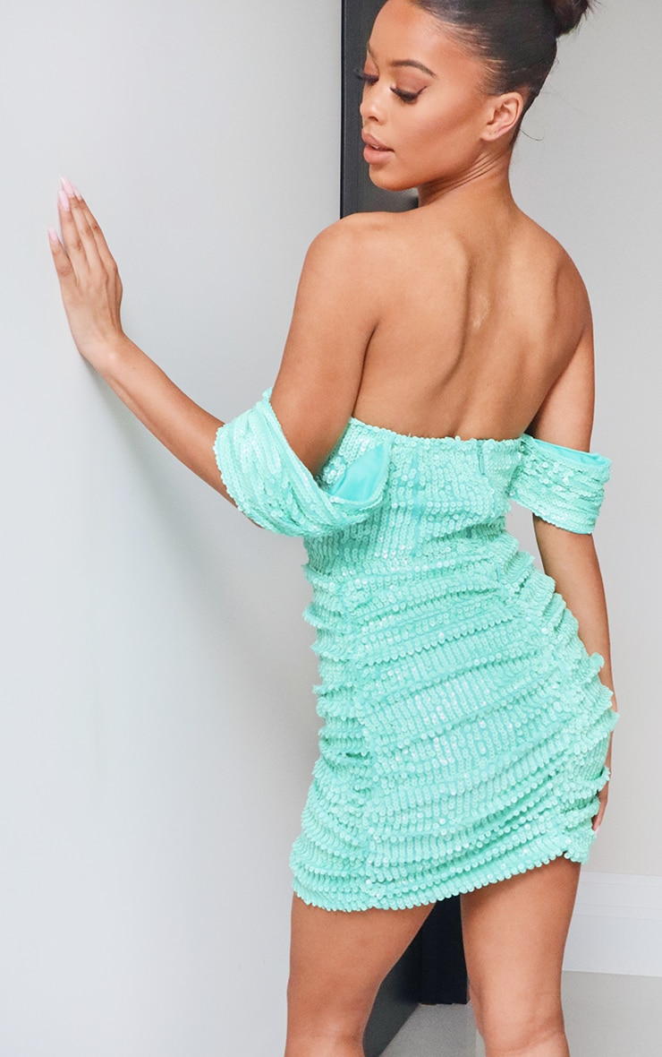 Turquoise Sequin Bardot Bodycon Dress 2