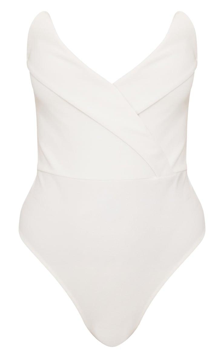 White Tux Detail Bandeau Thong Bodysuit 3