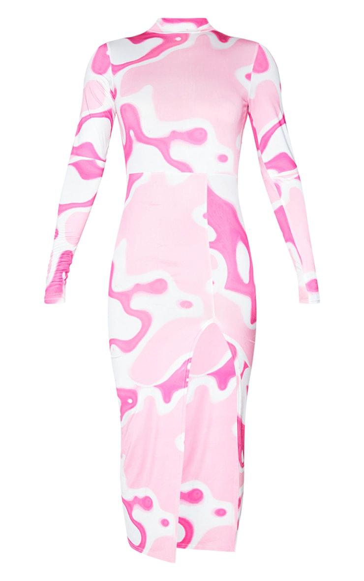 Pink Abstract Print High Neck Long Sleeve Slinky Midi Dress 5
