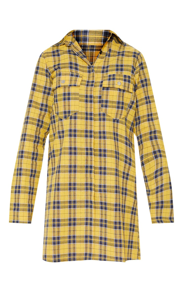 Mustard Oversized Check Shirt Dress 3