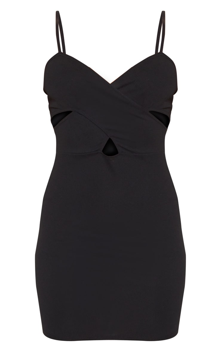 Black Strappy Cross Front Bodycon Dress 3