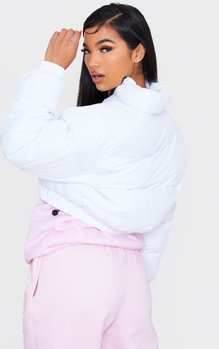 White Cropped Bubble Zip Detail Puffer Jacket 2