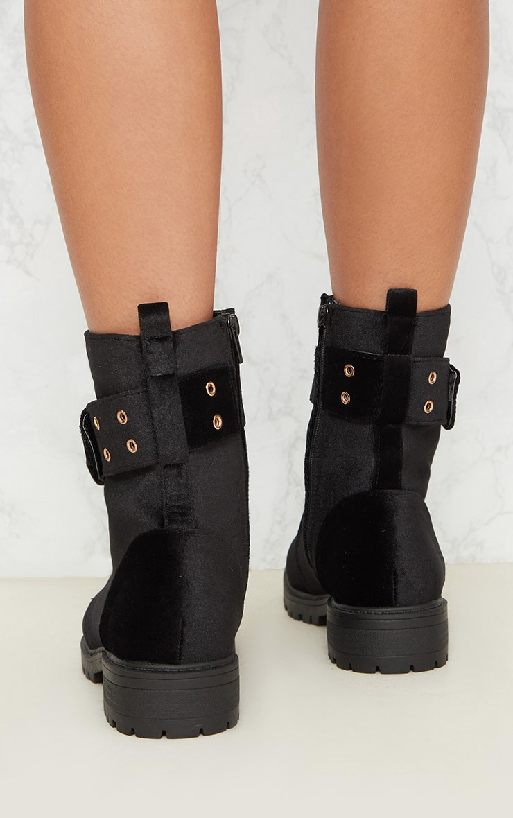 Black Buckle Side Biker Boot 5