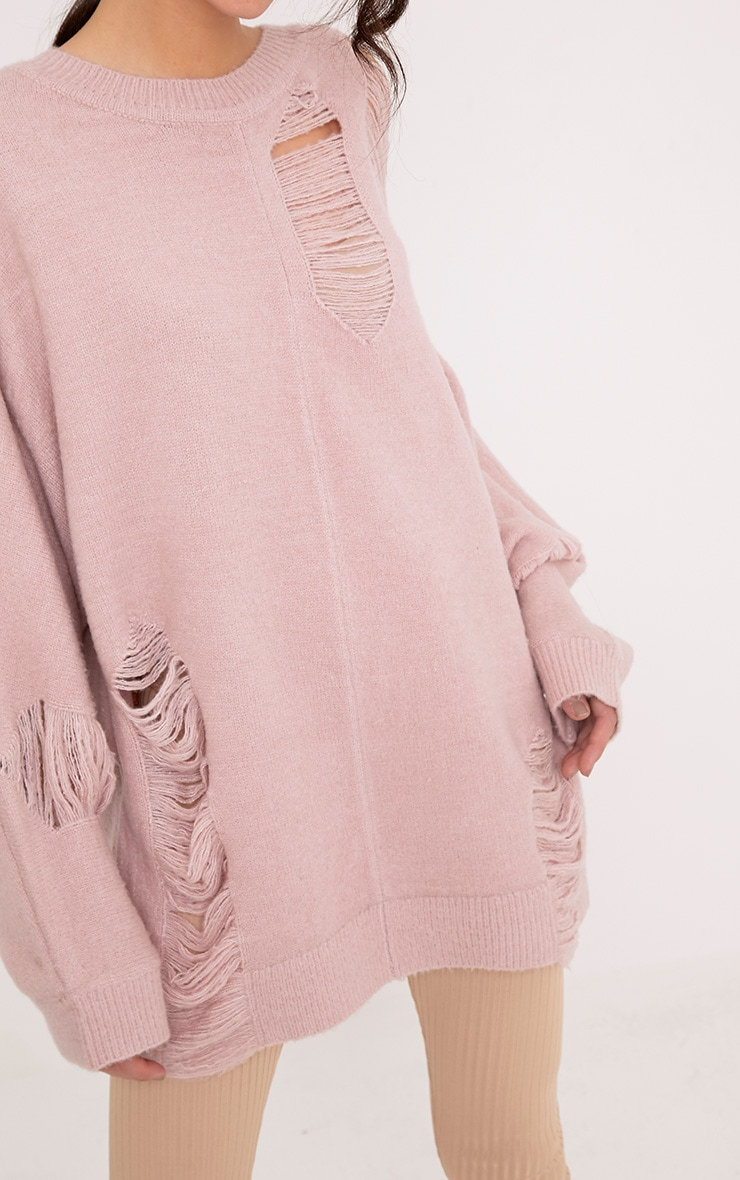 Raysha Blush Distressed Over Sized Knitted Jumper 5