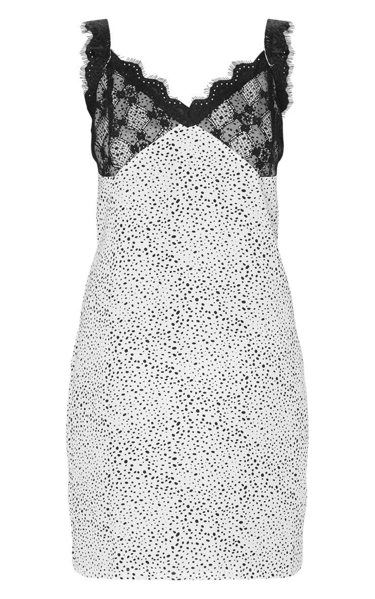 Beige Dalmatian Print Lace Cup Detail Shift Dress 3