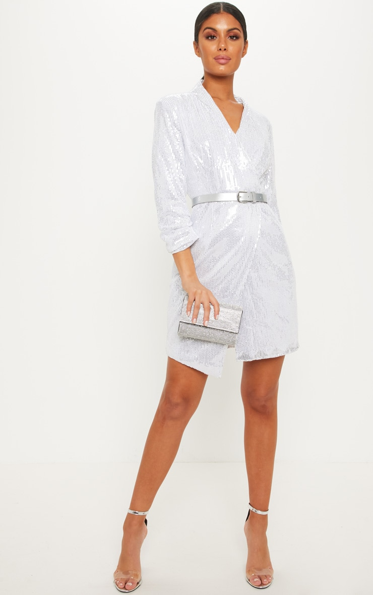 Silver Sequin Ruched Sleeve Asymmetric Hem Dress