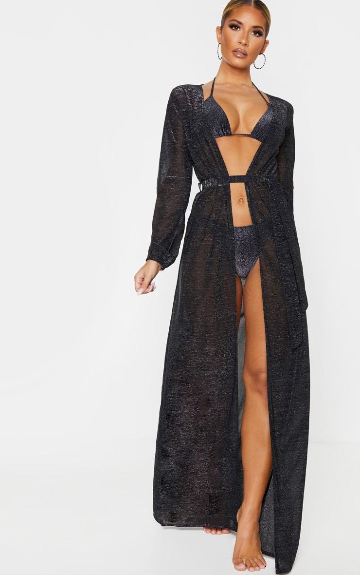 Black Glitter Tie Waist Maxi Kimono 1