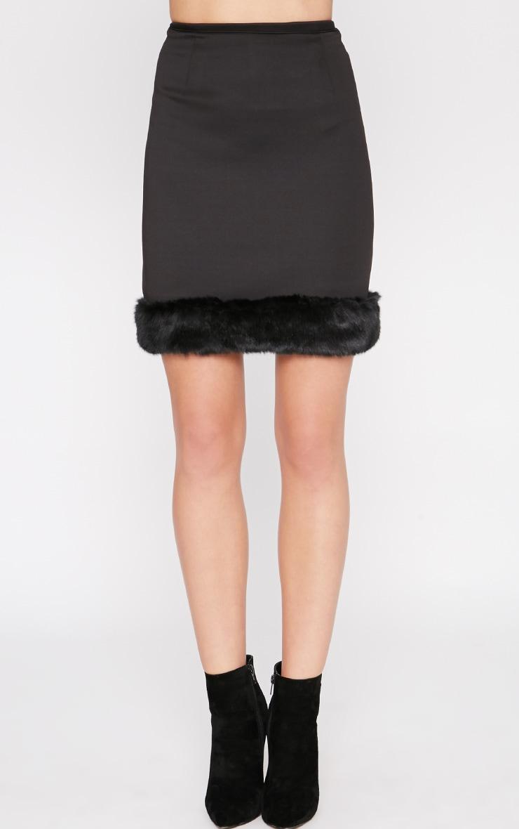 Rosella Black Fur Trim Mini Skirt  2