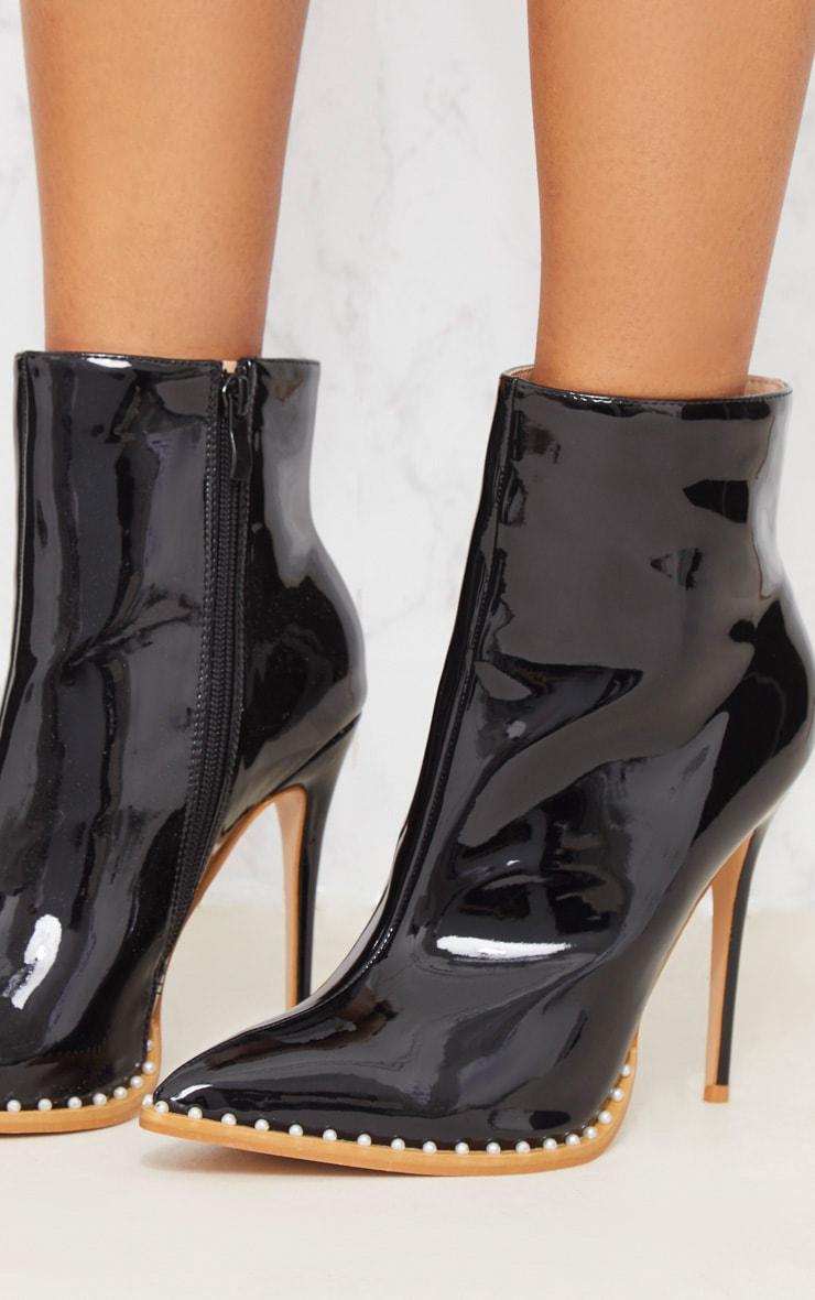 Black Pearl Embellished Ankle Boot 6