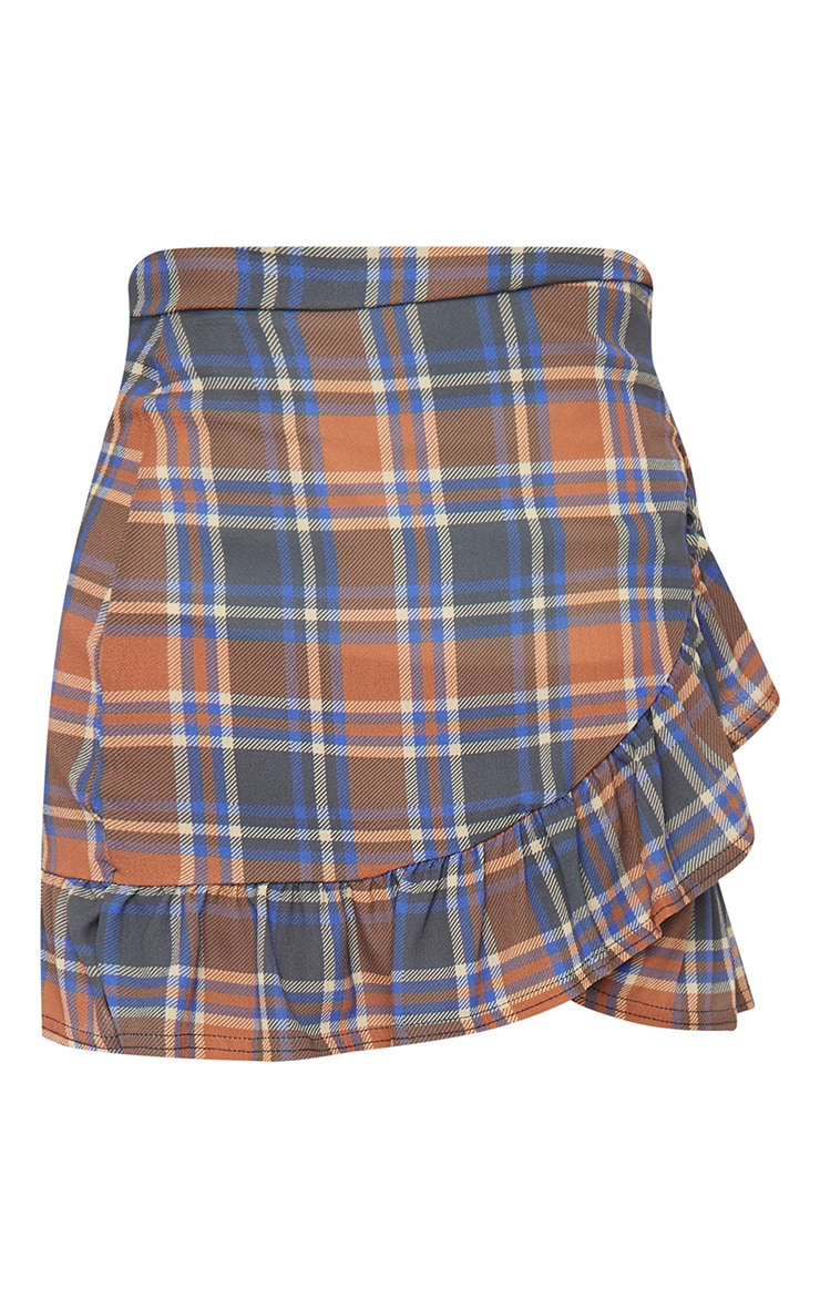 Brown Check Frill Hem Wrap Mini Skirt 6