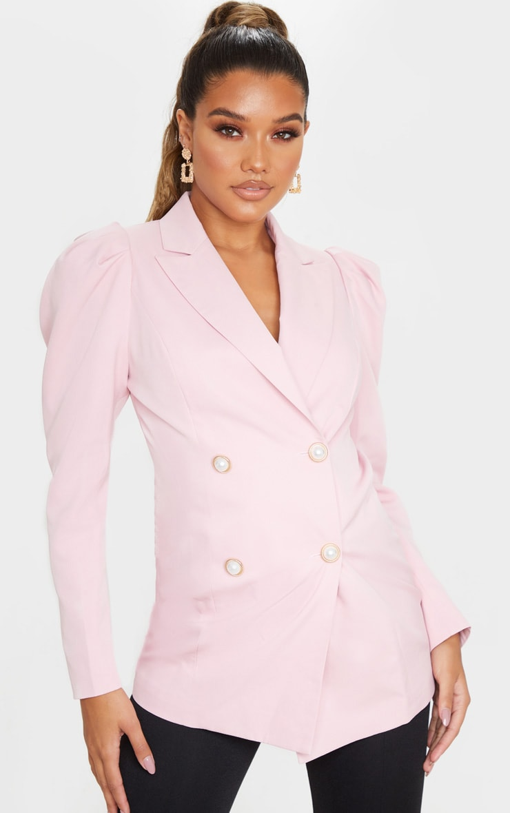 Pink Puff Sleeve Pearl Button Fitted Blazer 1