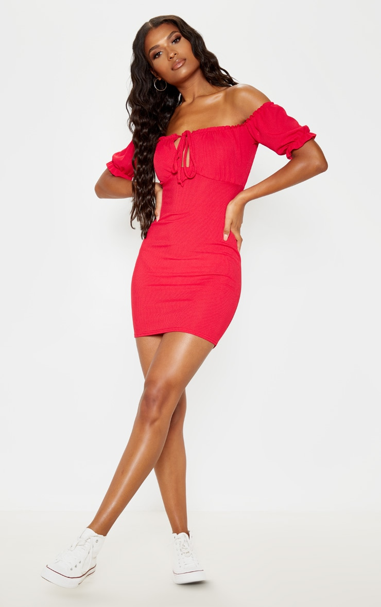Red Tie Front Bardot Jersey Bodycon Dress 1