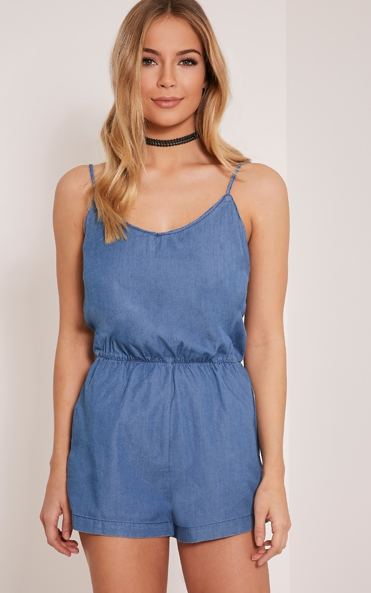 Claudia Dark Blue Denim Style Playsuit 1