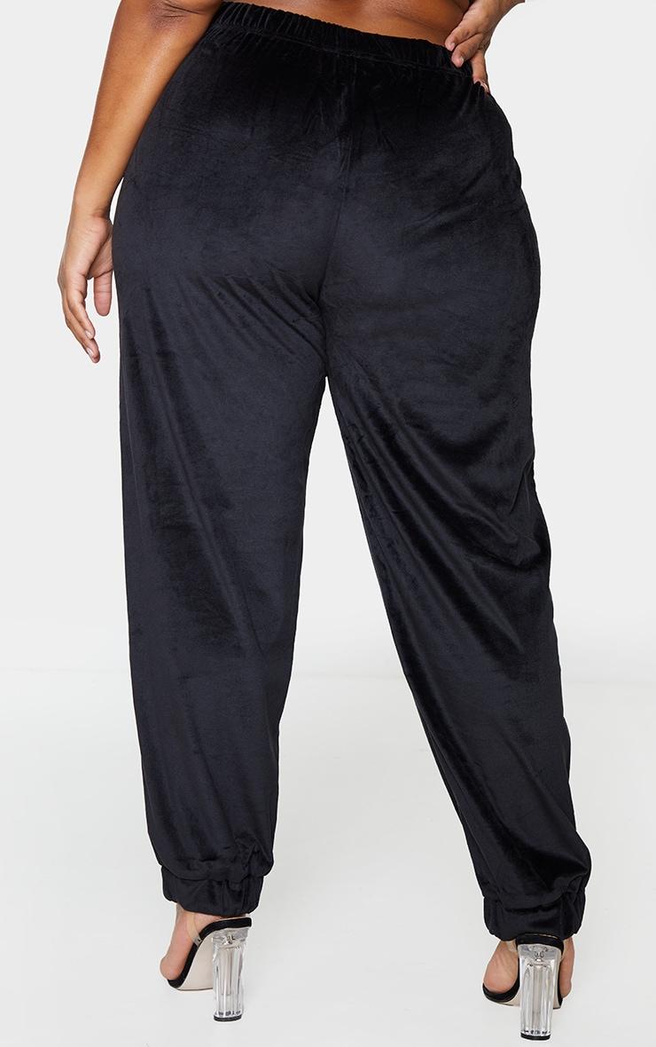 Plus Black Velour Pocket Detail Joggers 3