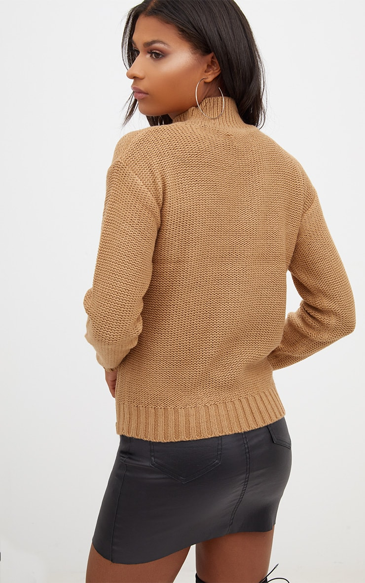 Tan Reverse Knit Zip Detail Jumper 2