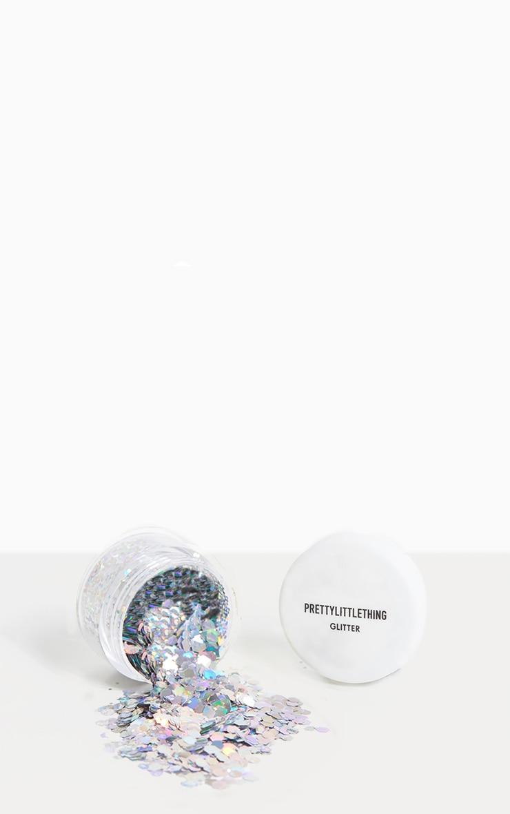 PRETTYLITTLETHING Chunky Silver Glitter Pot 1