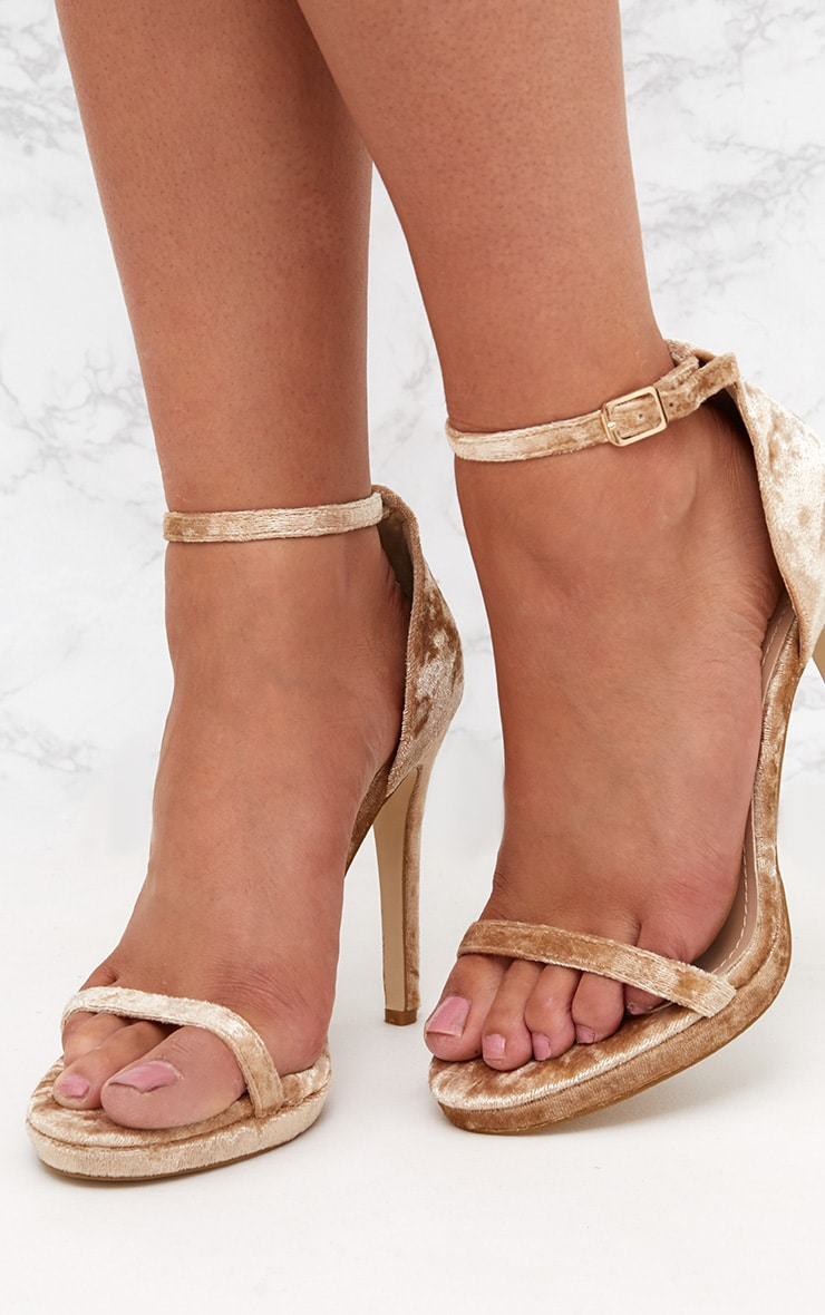Champagne Velvet Single Strap Heeled Sandals 2