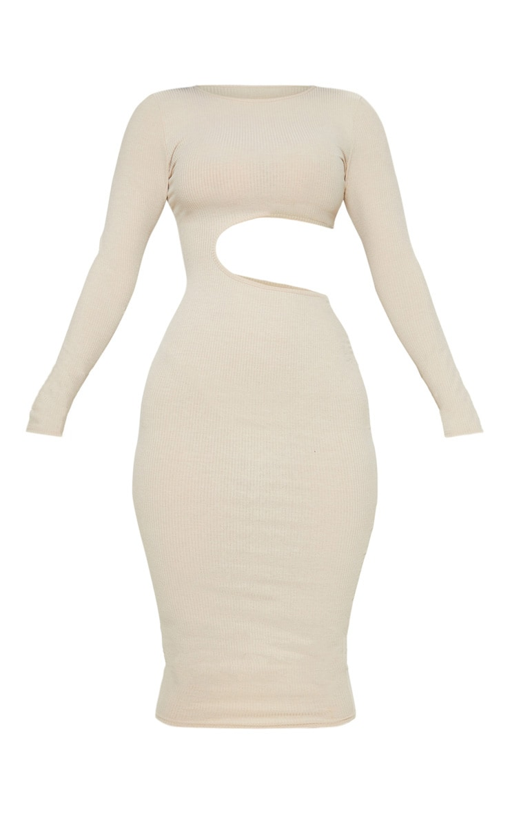 Stone Ribbed Cut Out Long Sleeve Midi Dress 3