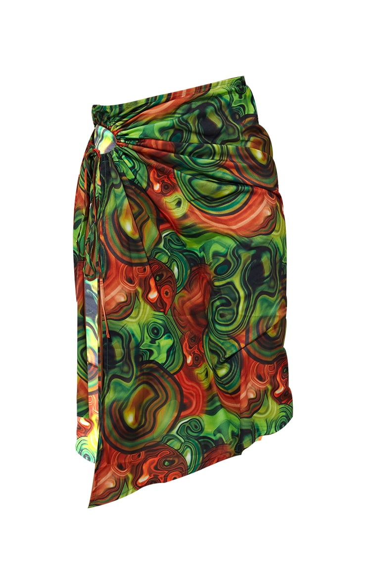 Yellow Abstract Swirl Woven Ruched Cut Out Detailing Midi Skirt 5