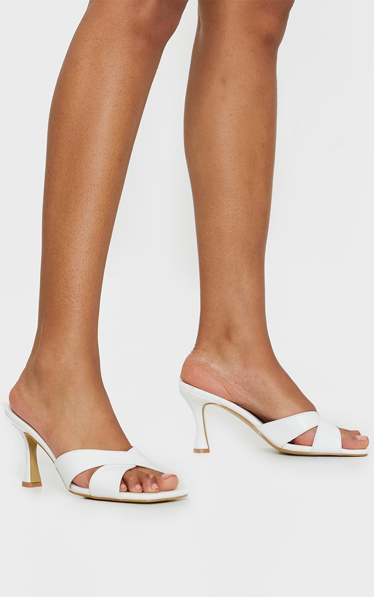 White Cross Strap Flare Low Heel Mules 1