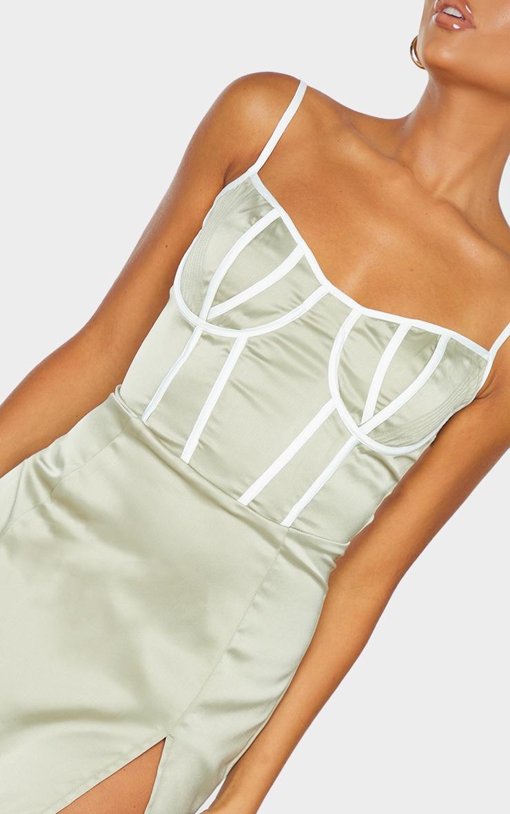 Pale Olive Satin Contrast Binding Detail Strappy Midi Dress 4