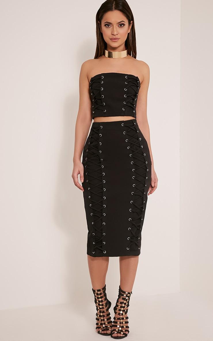 Haley Black Lace Up Midi Skirt 1