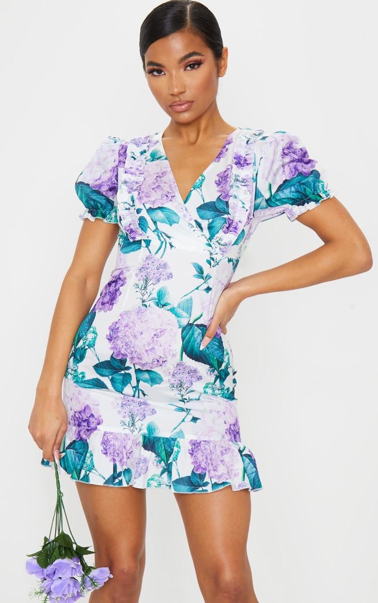 White Ditsy Floral Ruffle Detail Tea Dress 3