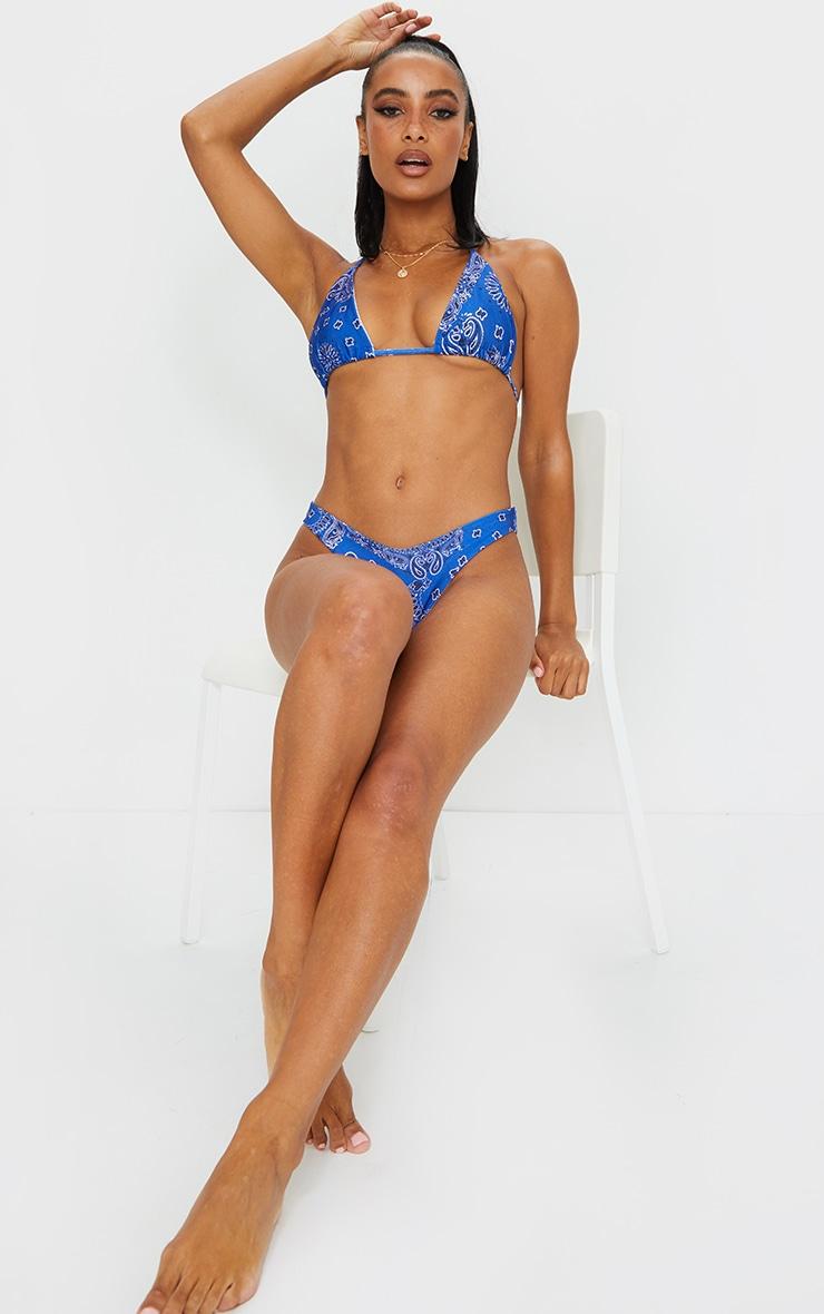 Blue Bandana Print Upside Down Bikini Top 3