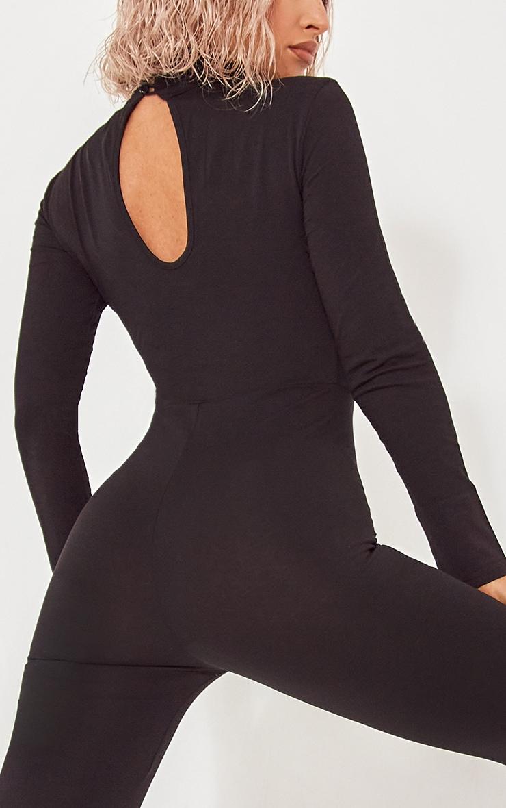 Basic Black Cotton Blend Roll Neck Long Sleeve Jumpsuit 4