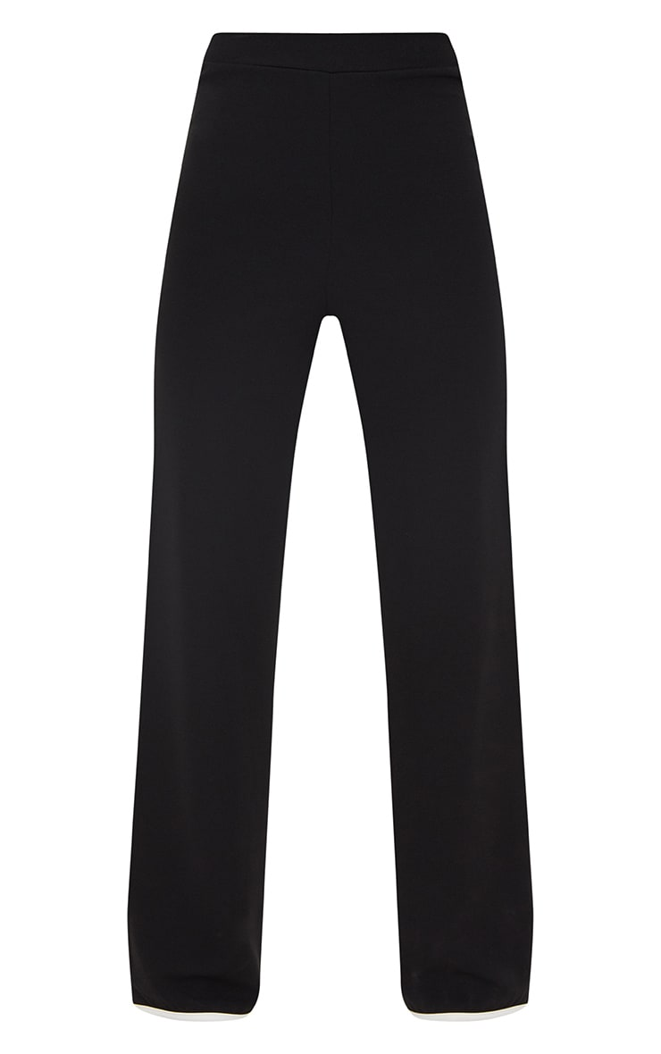 Petite Black Binding Detail Wide Leg Trouser 3