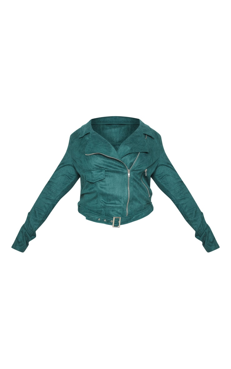 Plus Emerald Green Faux Suede Biker Jacket 3