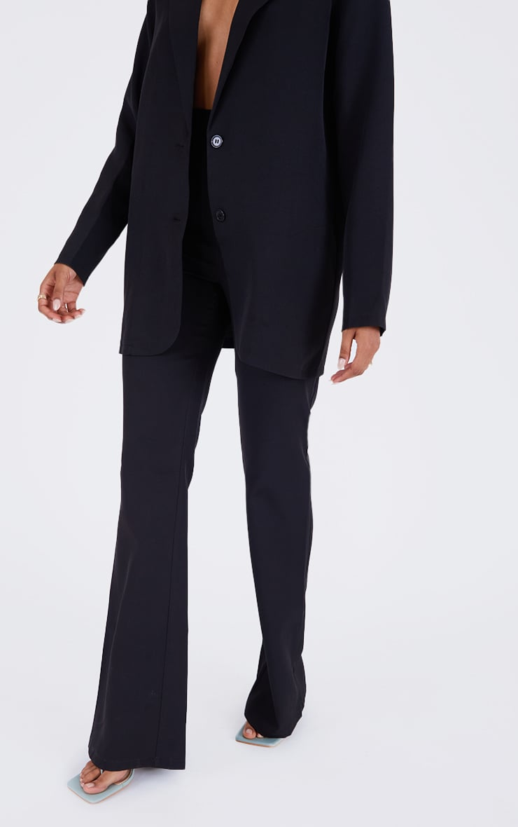 PRETTYLITTLETHING Black  Woven High Waisted Tailored Flare Trousers 2