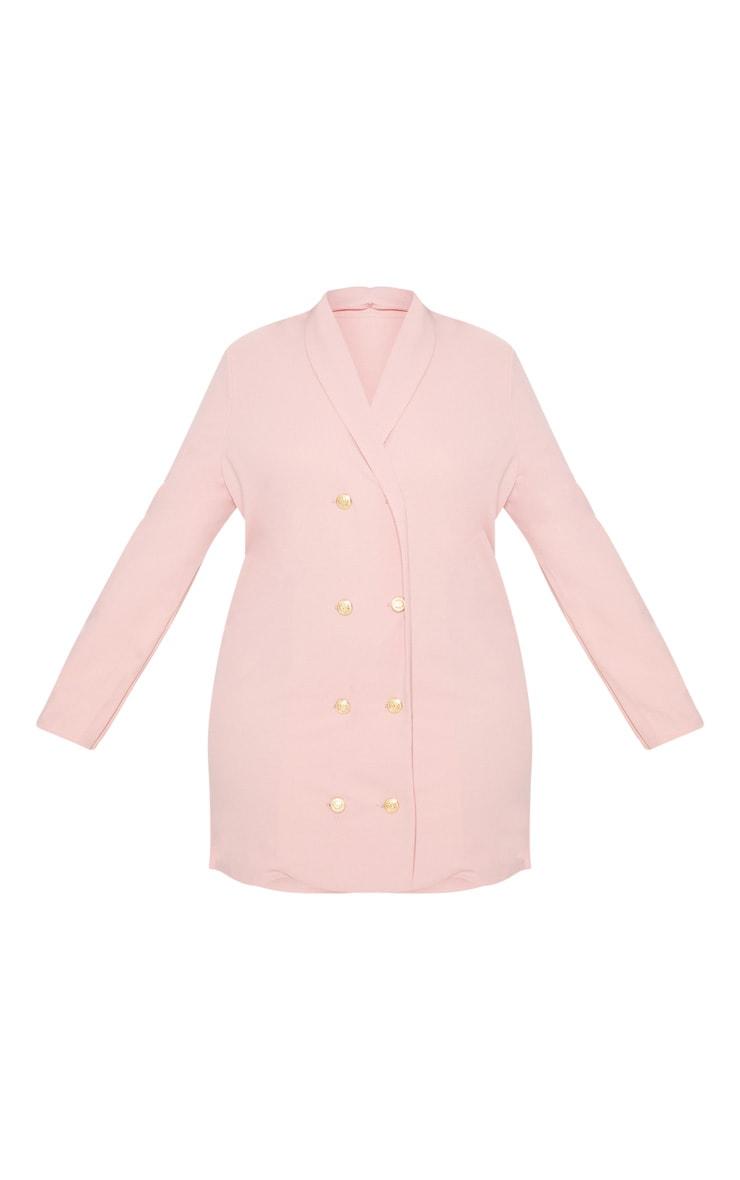 Plus Dusty Pink Gold Button Oversized Blazer Dress 3