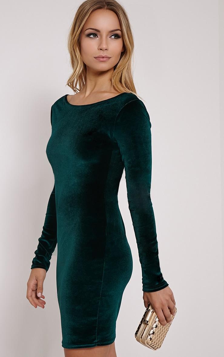 Bonny Bottle Green Round Neck Velvet Mini Dress 4