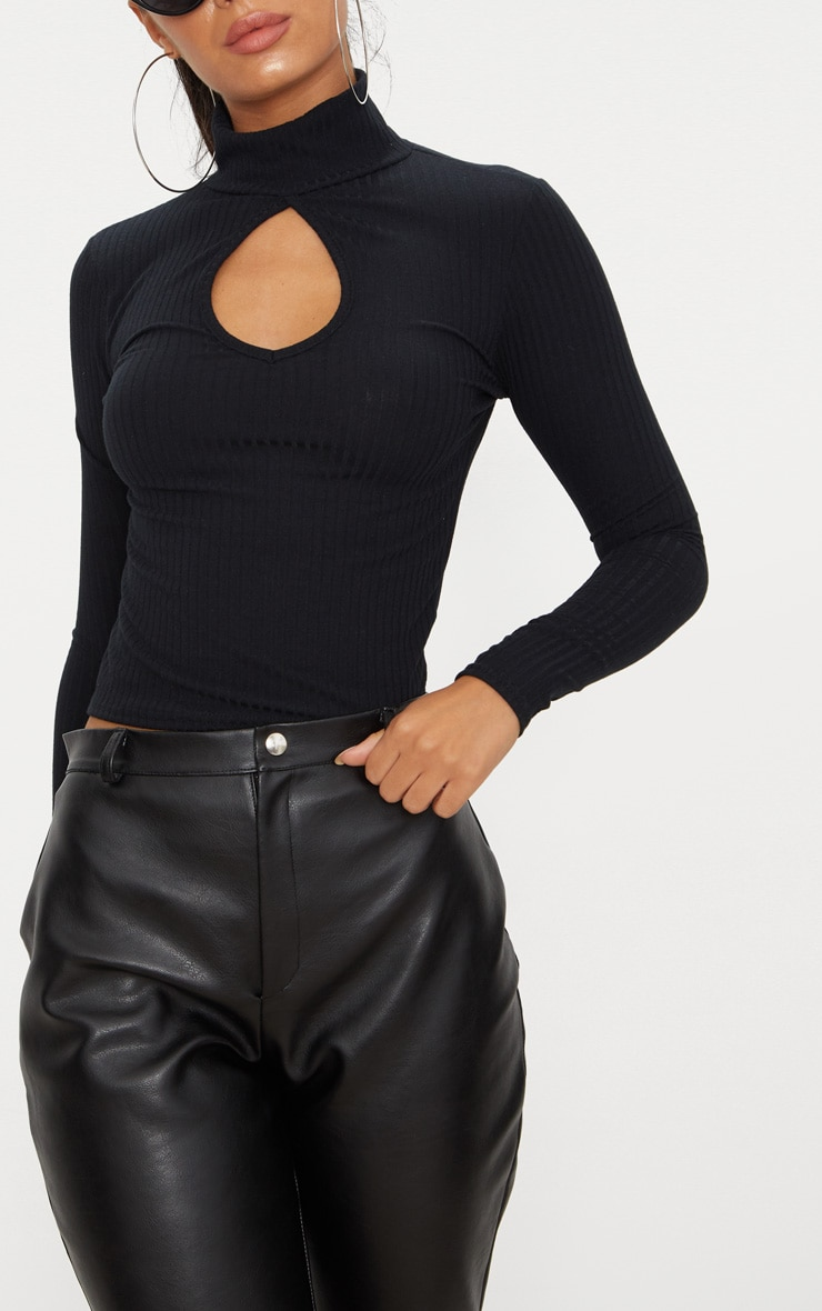 Black Long Sleeve Rib Key Hole Crop Top 5