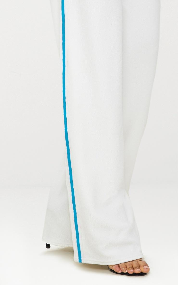 Cream Sport Stripe Paperbag Wide Leg Trouser 4