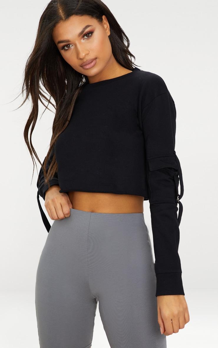 Black Cargo Pocket Oversized Crop Sweater 1
