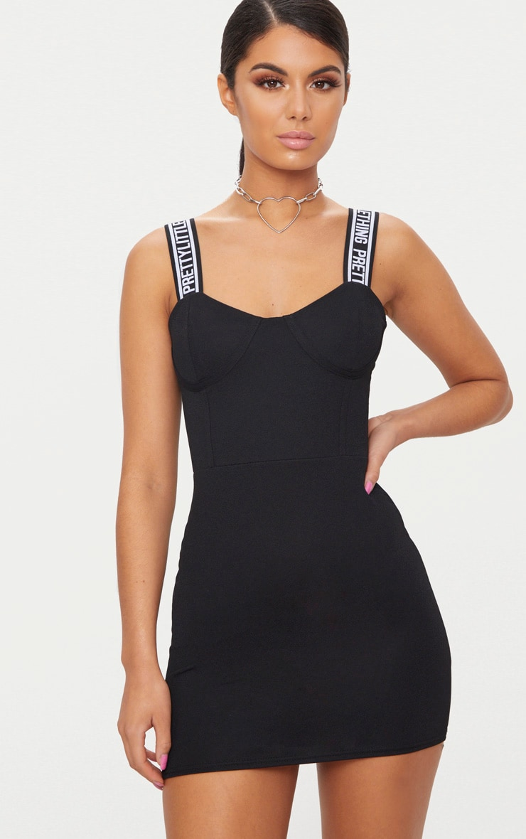 PRETTYLITTLETHING Black Strappy Cup Detail Bodycon Dress 1