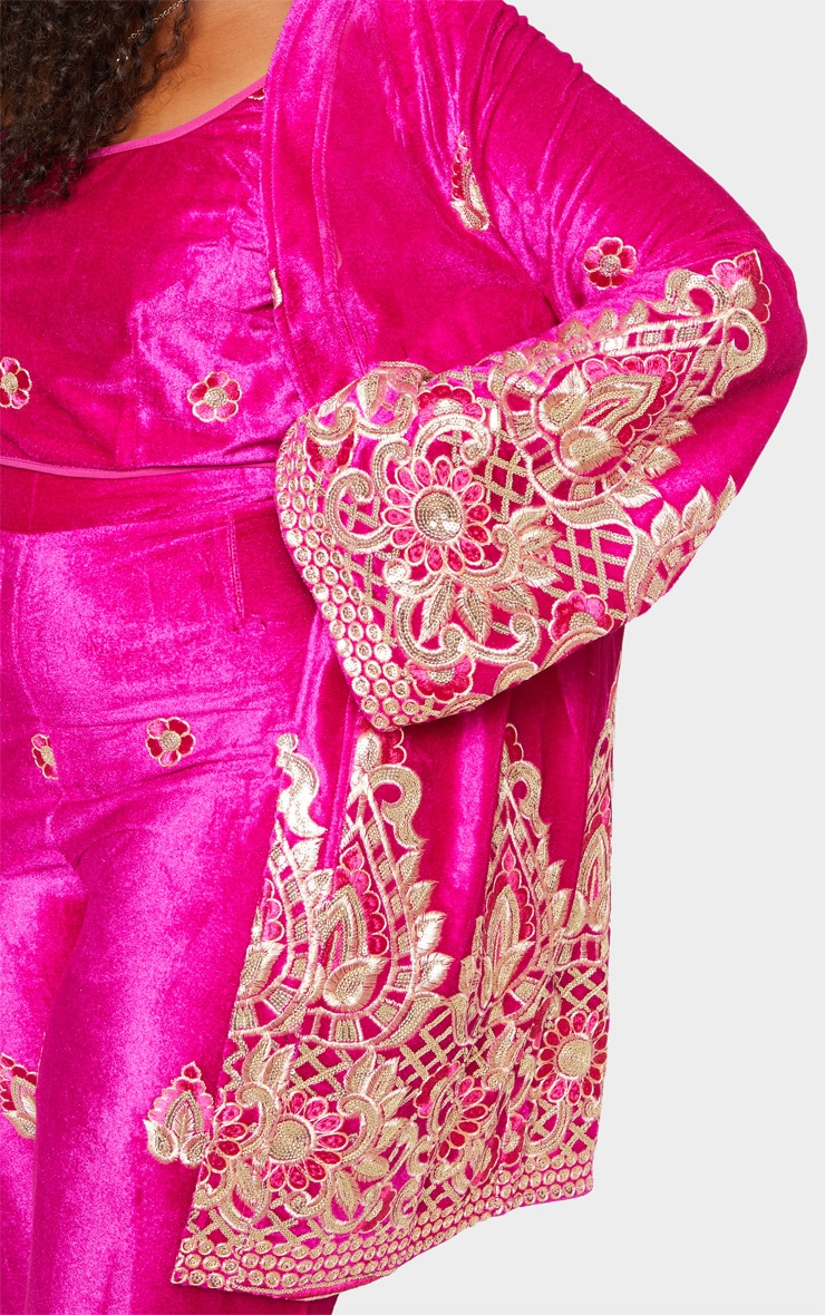 Plus Fuchsia Velvet Paisley Embroidered Kimono 6