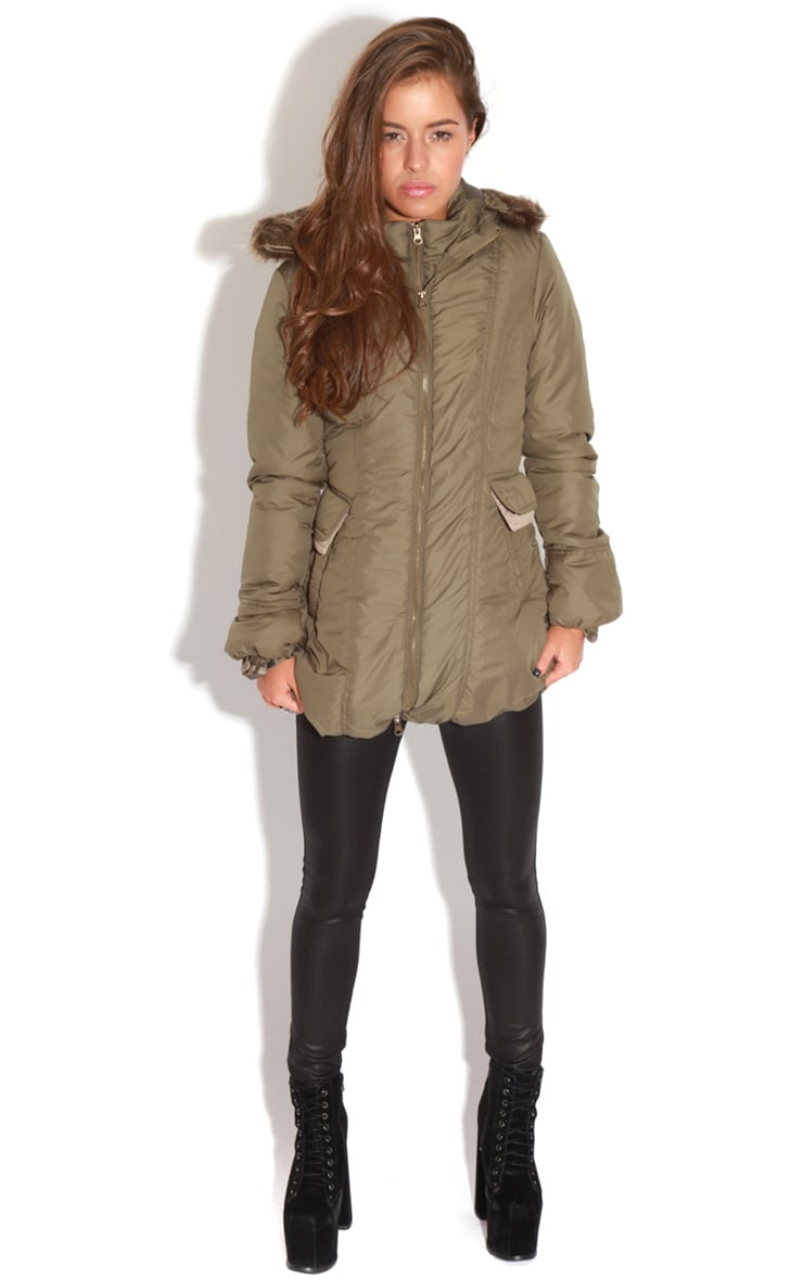 Cyra Khaki Parka With Fur Hood -16 3