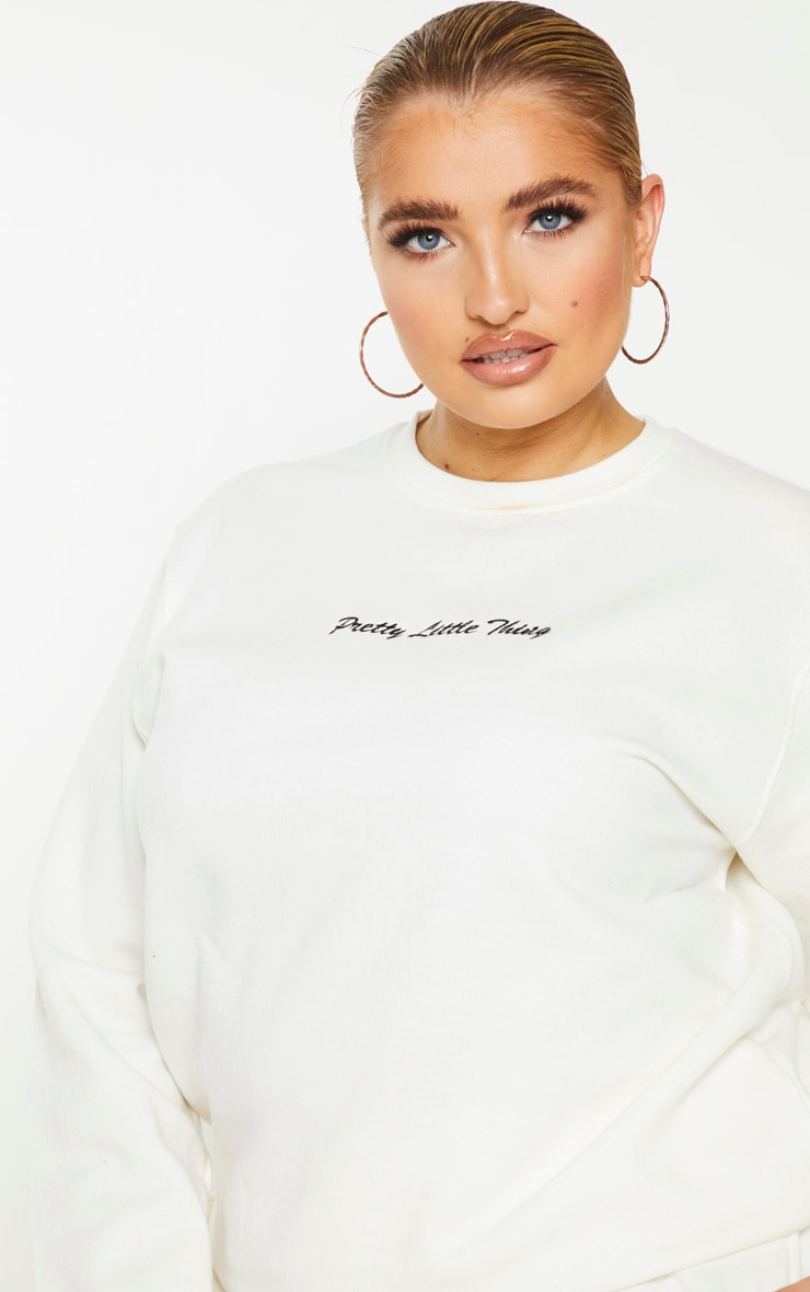 PRETTYLITTLETHING Plus Cream Embroidered Sweater 4