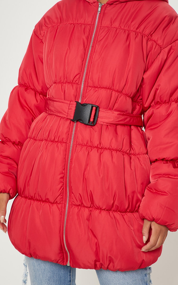 Red Belted Puffer Jacket 5