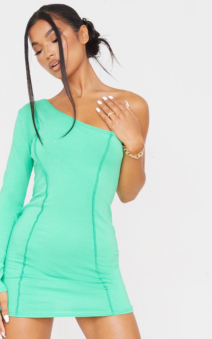 Green Asymmetric Binding One Shoulder Bodycon Dress 4